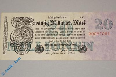 Reichsbanknote 20 Millionen Mark , T , Rosenberg 96 D , Reichsmark , 1923