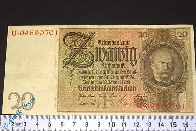 Reichsbanknote über 20 Mark  --> F / U <--  Ros. 174a , Siemens , von 1929 ,