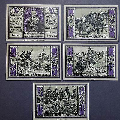 5 x Top Notgeld Stolp : 5 x mit Wasserzeichen Z-Muster , kfr/unc -selten-
