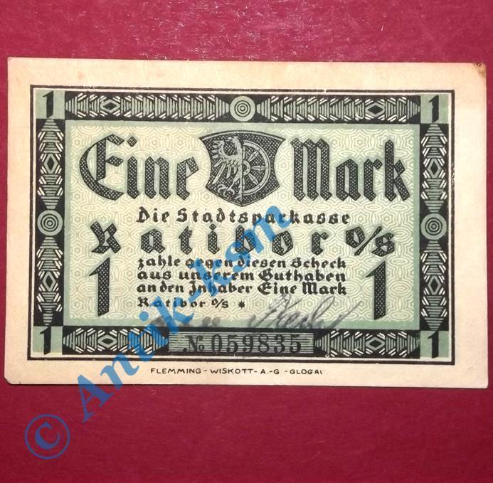 Notgeld Ratibor , Schein über 1 Mark mit Unterschrift , M/G 1100.1 , kfr/unc