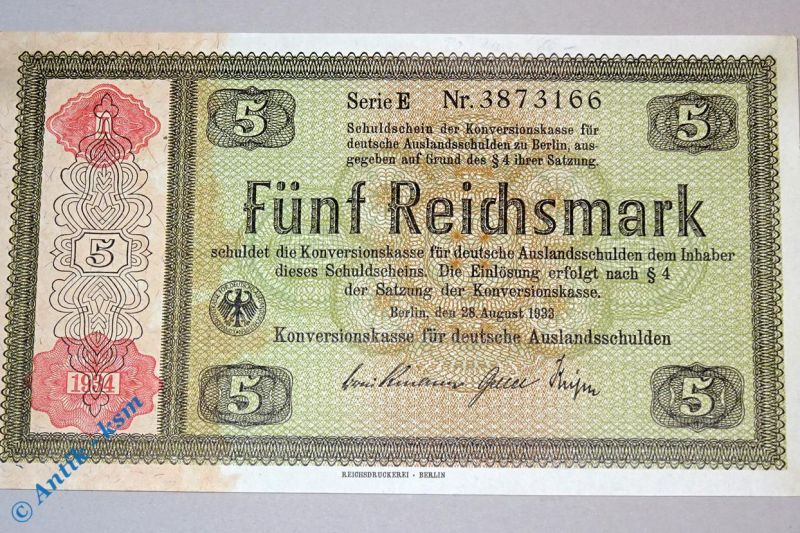 5 Reichsmark , Konversionskassenschein 1933/34 nicht perforiert/gelocht , kfr