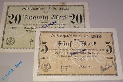 2 x Banknote Rastenburg , Ostpreussen , 5 + 20 Mark Scheine vom 29.10.1918