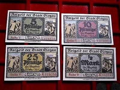 4 x Notgeld Stadt Glogau / GLOGOW,  Niederschlesien 5 Pfennig bis 1/2 Mark, Kfr