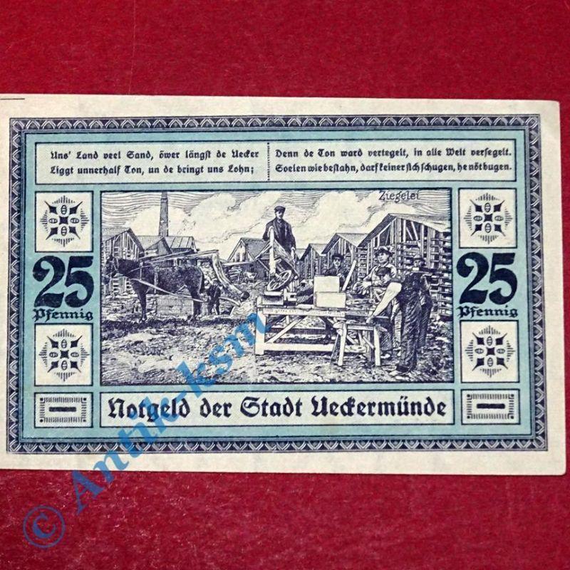 Notgeld Ueckermünde , 25 Pf. blau , german emergency Money , M/G 1350.1  kfr/unc