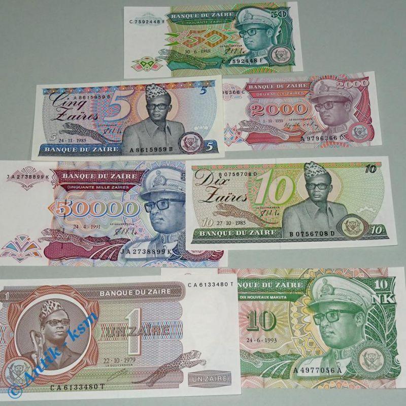 7 x Banknote Banque du Zaire / 7 verschiedene Scheine Zaire , alle kfr / unc