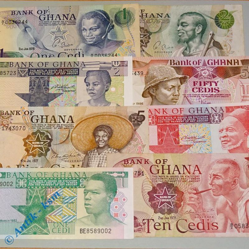 8 x Banknote , Bank of Ghana , 8 Scheine Ghana , Varianten ,kfr + leicht gebr.