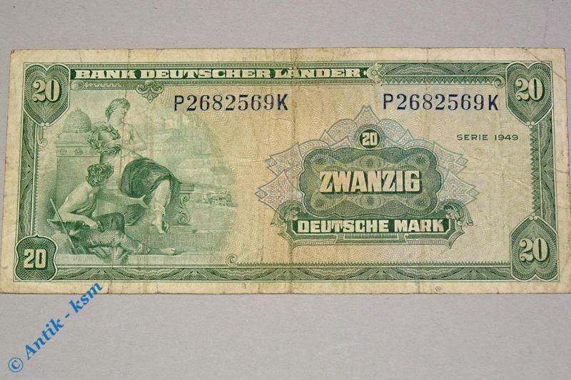 Banknote über 20 Mark Bank deutscher Länder , Ros 260 , Kopfgeld , von 1949