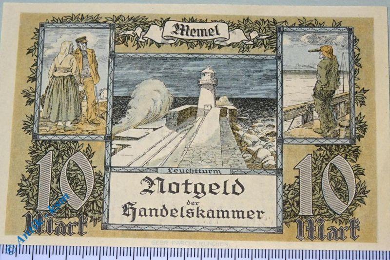 Notgeld der Handelskammer Memel , 10 Mark, Rosenberg MEM-5 , Kleipeda , kfr/unc