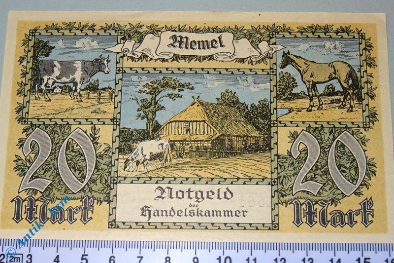 Notgeld der Handelskammer Memel , 20 Mark, Rosenberg MEM-6 , Kleipeda , kfr/unc