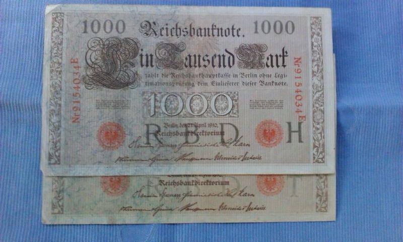 A Reichsbanknote über 1000 Mark von 1910 -- Unterdruck dunkelgrau -- Ros. 45 d ?