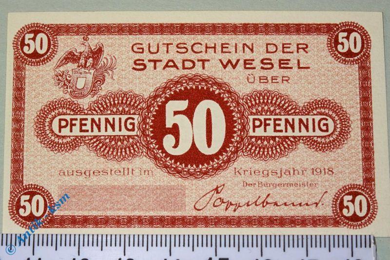 Notgeld Wesel , 50 Pfennig Musterschein ohne Kennummer , T. 7840.05.06.M kfr/unc