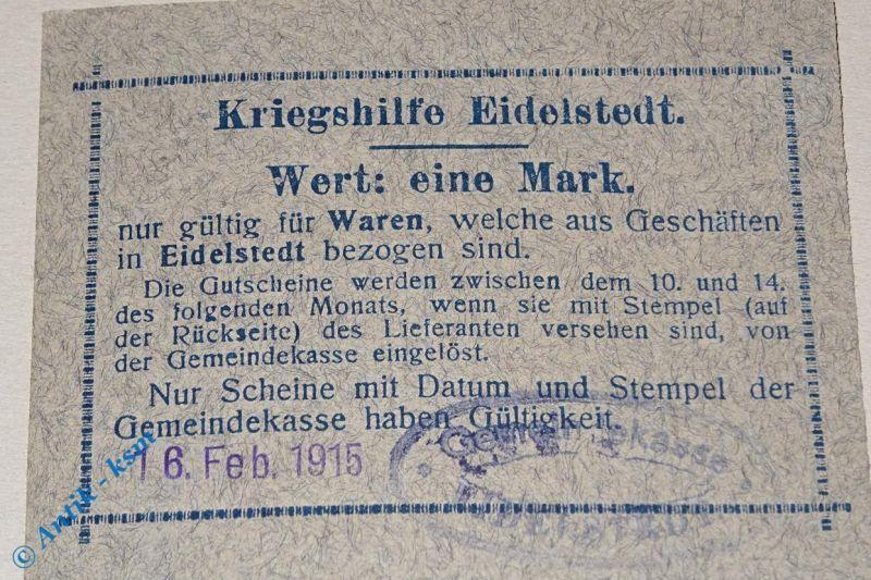 Notgeld 1 Mark Kriegshilfe Eidelstedt , 16.02.1915 , Stempel H. Schwarz Hamburg