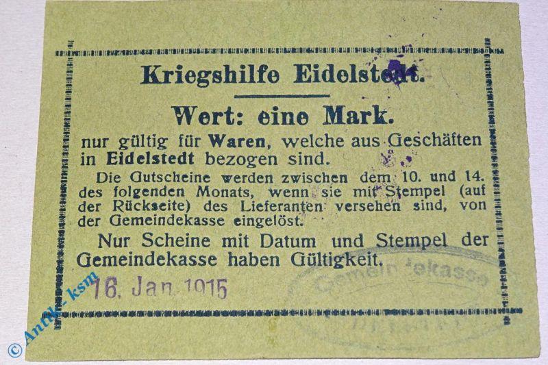 Notgeld 1 Mark Kriegshilfe Eidelstedt , 16.01.1915 , Stempel Produktion Hamburg