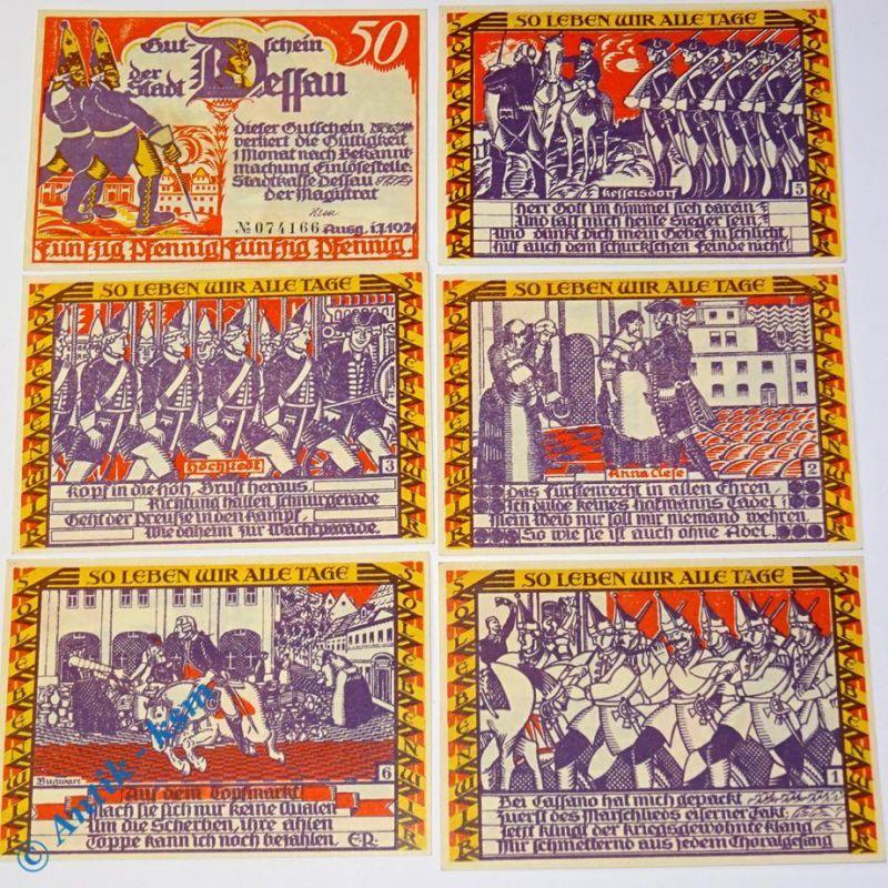 6 x Notgeld Dessau , german emergency money , M/G 266.1 , 6 Scheine in kfr/unc