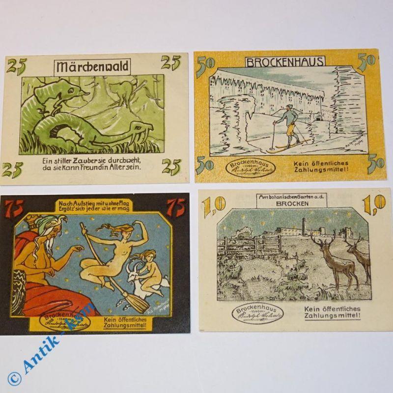 4 x Notgeld Schierke , Brockenwirt , emergency money , M/G 1177.2 , 4 x kfr/unc