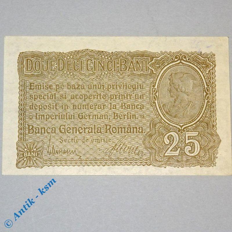 Ros 472 b , 25 Bani Schein , deutsche Besatzung Rumänien 1916 - 1918 , kfr/unc
