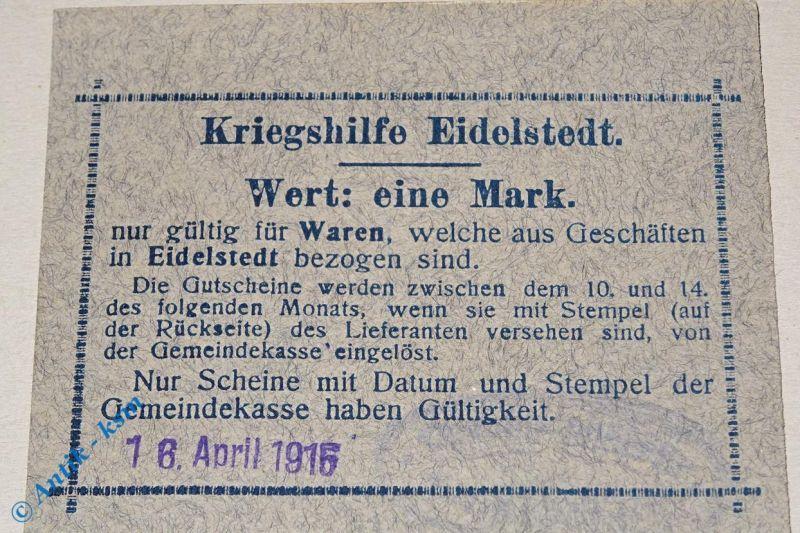 Notgeld 1 Mark Kriegshilfe Eidelstedt , 16.04.1915 , Stempel H. Schwarz Hamburg