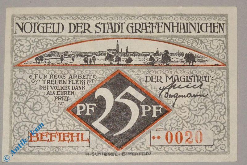 Notgeld Gräfenhainichen , 25 Pf. Schein Nr 1 , ** vor Kn , M/G 461.3 b ,  kfr