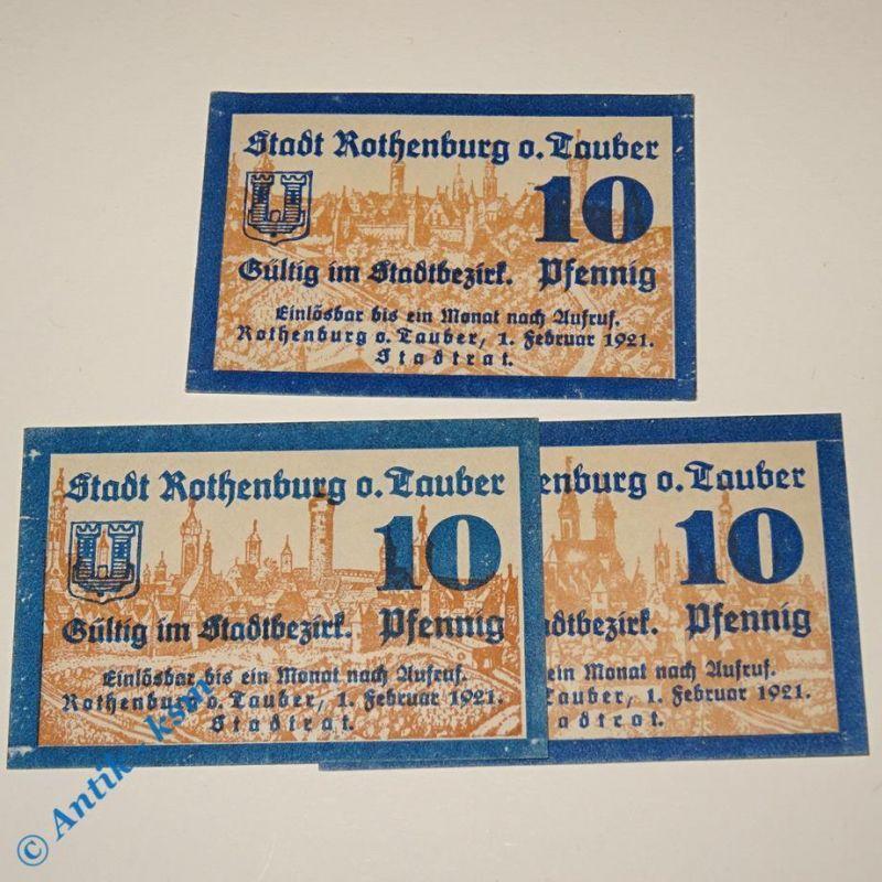 3 x Notgeld Rothenburg , german emergency money , M/G 266.1 , 3 Scheine kfr/unc