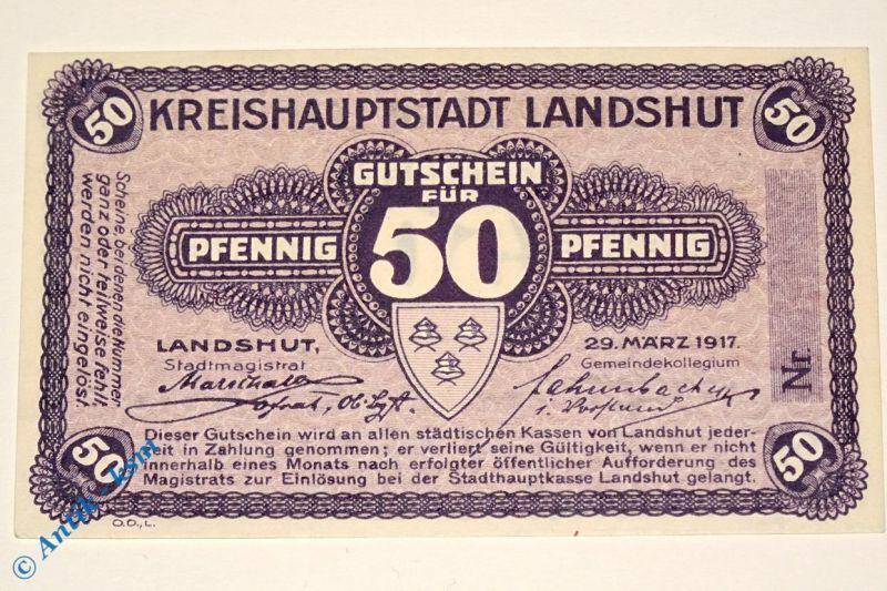 Notgeld Landshut , 50 Pfennig Musterschein o. Kennummer  3845.05.02.M in kfr/unc