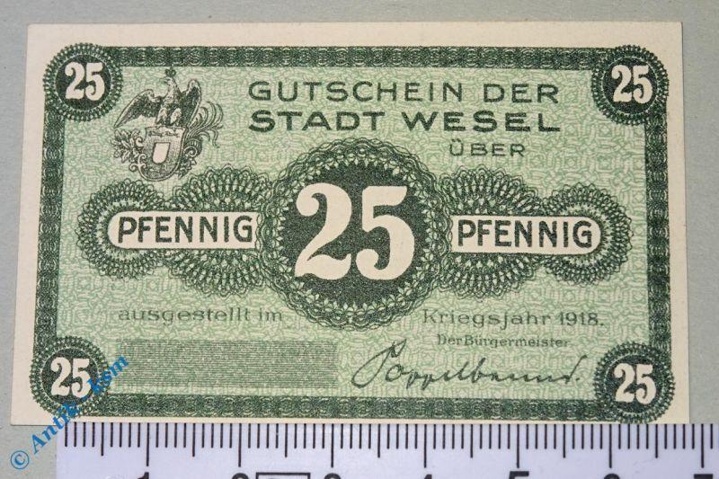 Notgeld Wesel , 25 Pfennig Musterschein ohne Kennummer , T. 7840.05.05.M kfr/unc