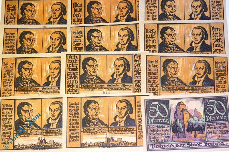 12 x Notgeld Brehna , german emergency money , M/G 160.3 , 12 Scheine in kfr/unc