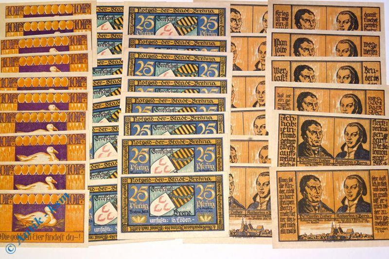 38 x Notgeld Brehna , 3 Serien , german emergency money , M/G 160.1 bis 3 , kfr