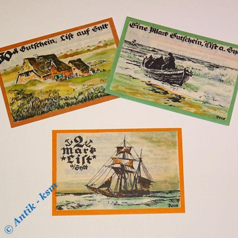 3 x Notgeld List auf Sylt , german emergency money , M/G 806.1 , 3 x in kfr/unc