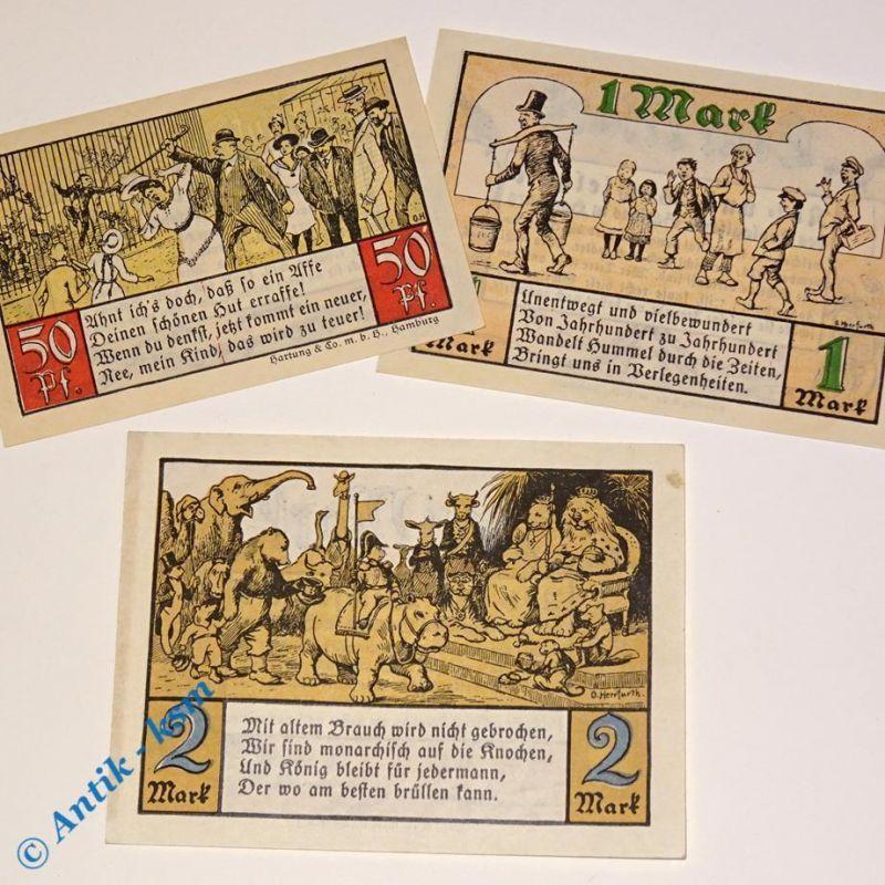 3 x Notgeld Hamburg . german emergency money , M/G 563.1 , 3 Scheine in kfr/unc