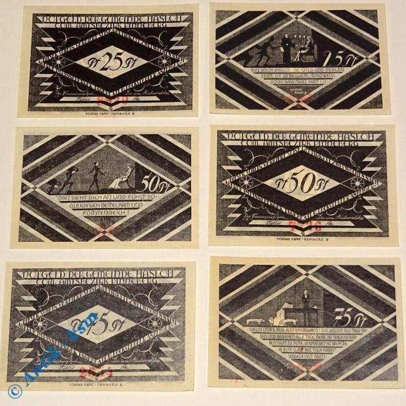6 x Notgeld Hasloh , german emergency money , M/G 584.1 , 6 Scheine in kfr/unc