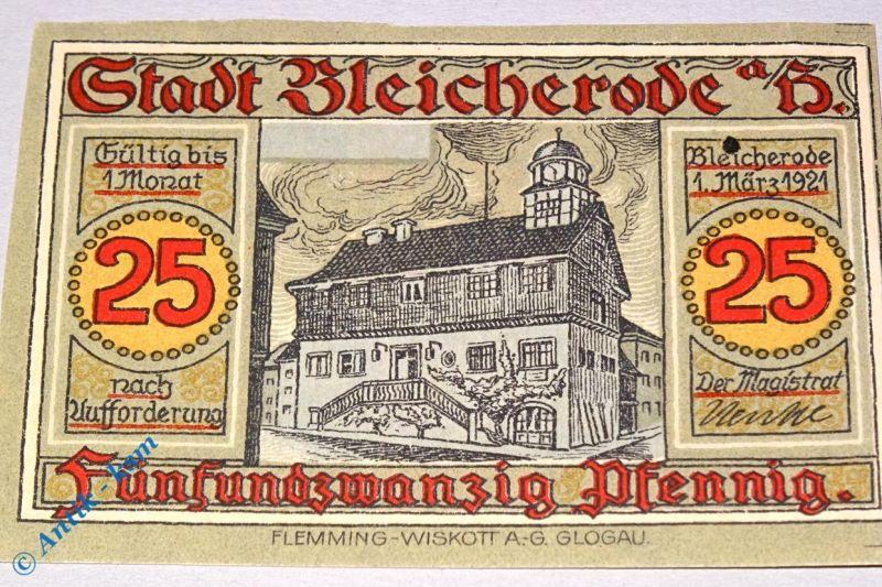 Notgeld Bleicherode , 25 Pfennig Schein ohne Kennummer , Mehl Grabowski 119.2 m