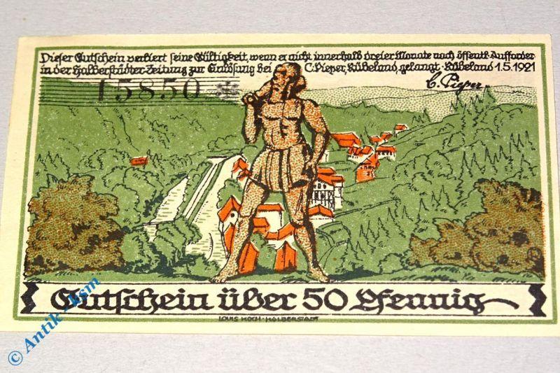 Notgeld Rübeland , 50 Pfennig Schein Nr 1 , punktiert , Mehl Grabowski 1147.1 a