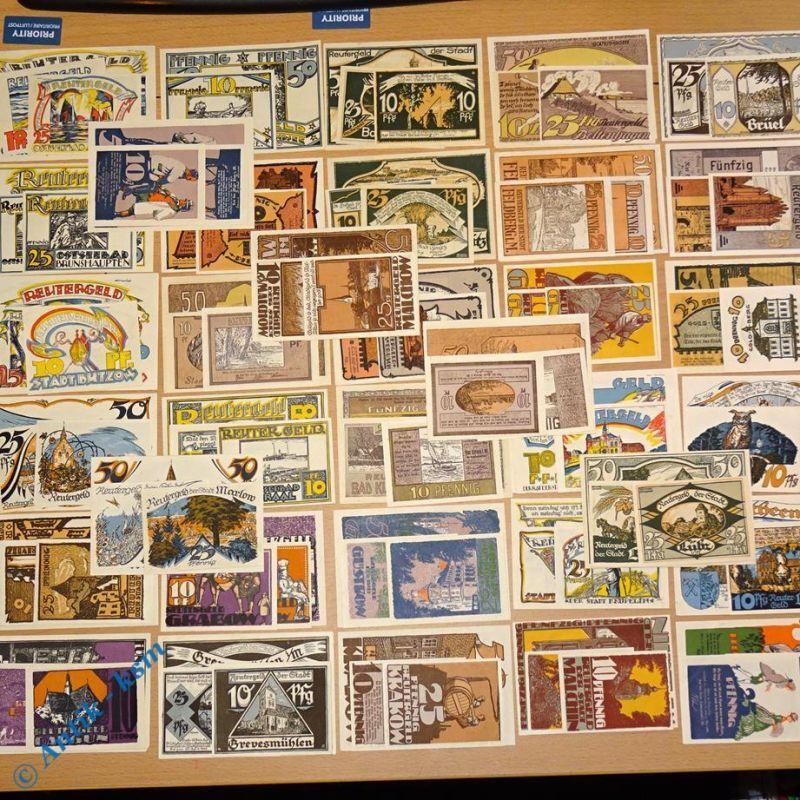 210 x Notgeld , 70 Serien 210 Scheine , alle 70 Reutergeld Serien komplett , kfr