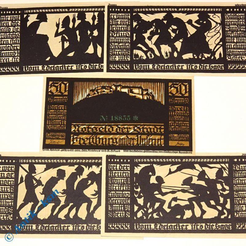 5 x Notgeld Freyburg , german emergency money , M/G 390.1 , 5 Scheine in kfr/unc
