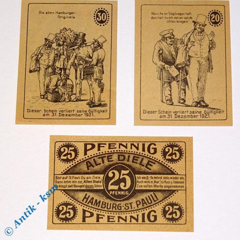 3 x Notgeld Hamburg , Alte Diele , german Notgeld , M/G 515.3 , 3 x in kfr/unc