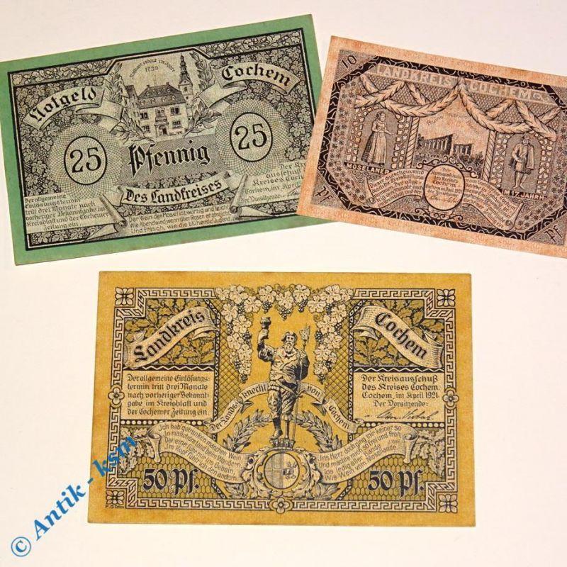 3 x Notgeld Cochem , german emergency money , M/G 237.1 , 3 Scheine in kfr/unc