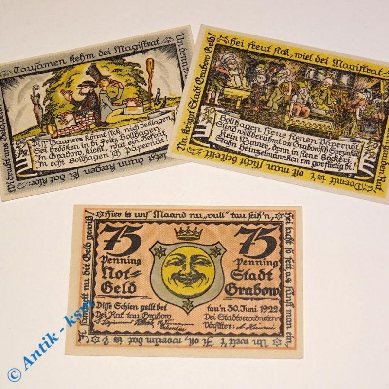 3 x Notgeld Grabow bis 30.06.1922 , german emergency money , M/G 460.2 , kfr/unc