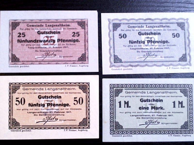 A  4 x Notgeld Gemeinde Langenaltheim : 25, 2 x 50 und 1 Mark, kfr/unc  -selten-
