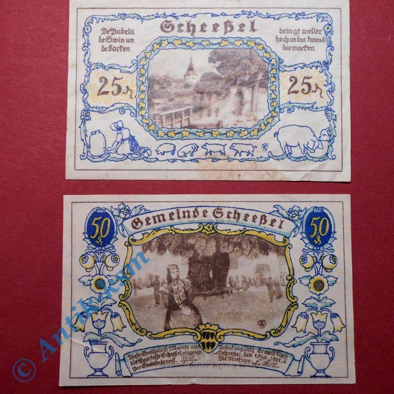2 x Notgeld Scheeßel , 25 + 50 pf. ohne Druckfirma ohne Buchstabe. M/G 1174.1 D
