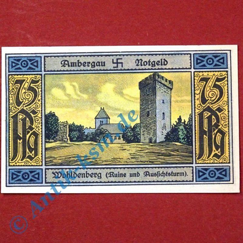 Notgeld Bockenem , Buchdruckerei Rehmann , 75 Pf. Schein Wohldenberg , kfr/unc