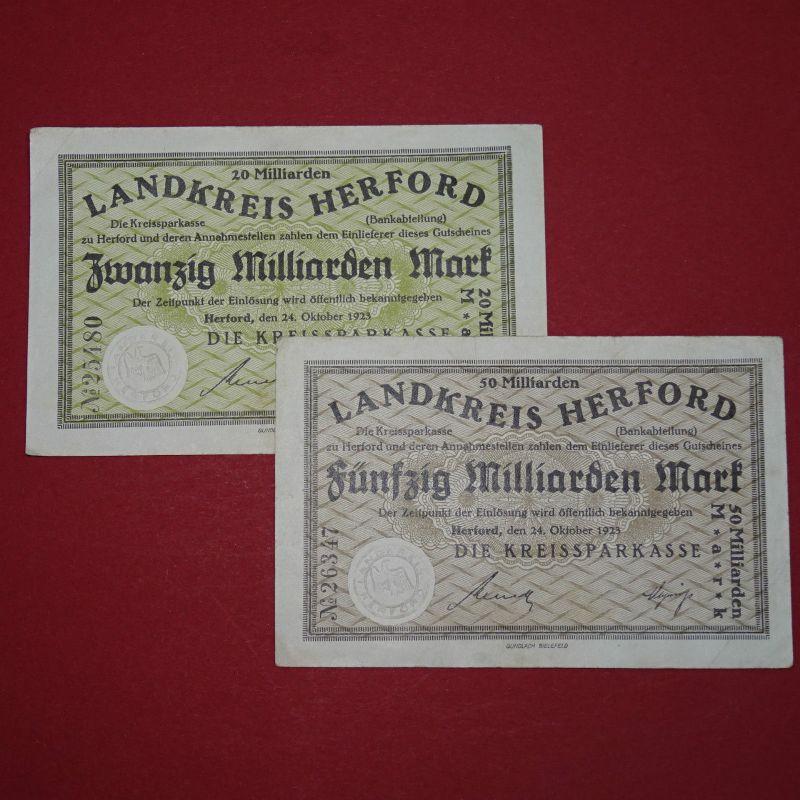 2 x Notgeld Herford , 2 Banknoten zu 20 und 50 Milliarden Mark , -- selten --