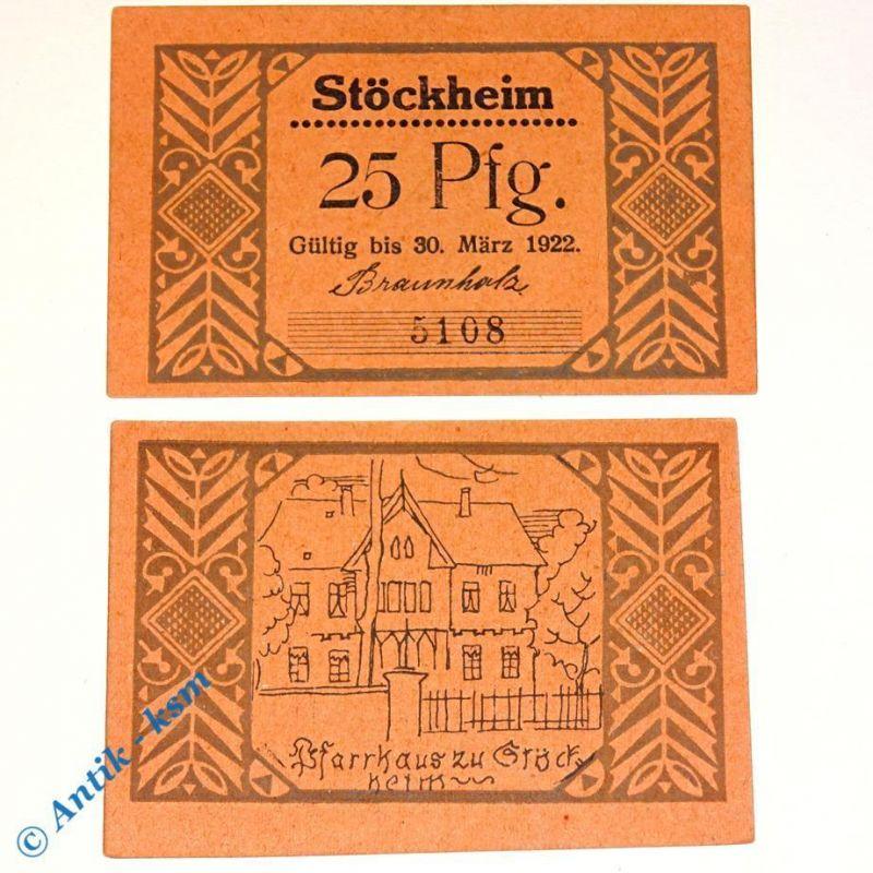 1 x Notgeld Stöckheim , 25 Pfennig Pfarrhaus , emergency money , M/G 1272.2 kfr