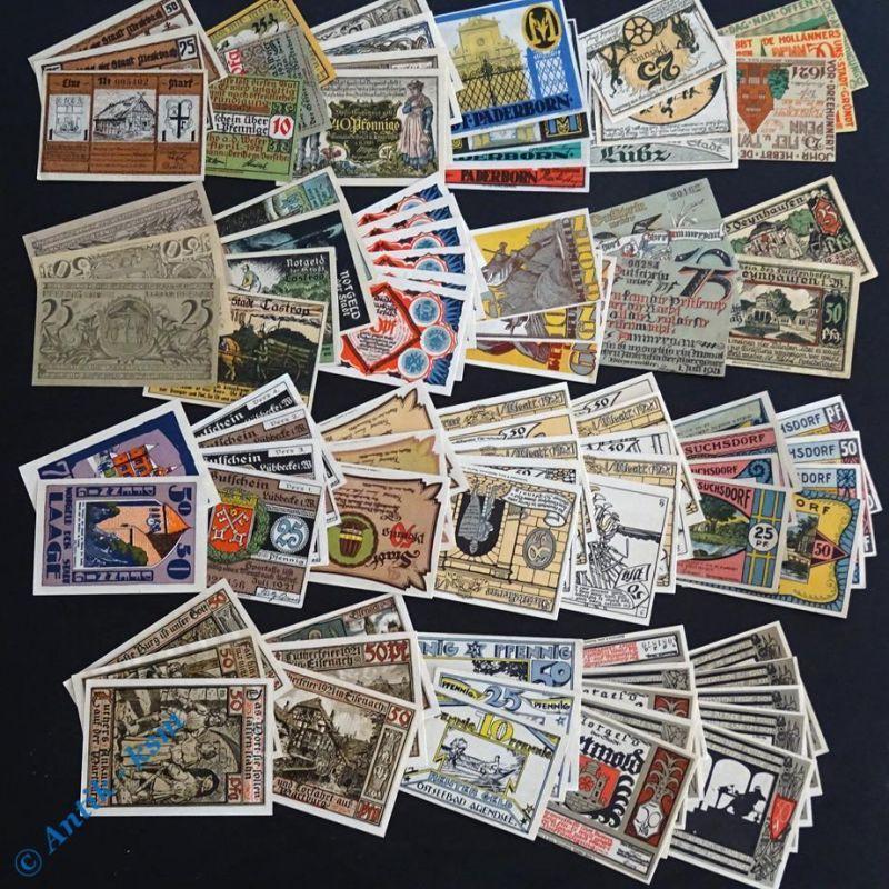 Tolles Notgeld Lot , 20 Serien , 87 Scheine , german emergency money , kfr/unc