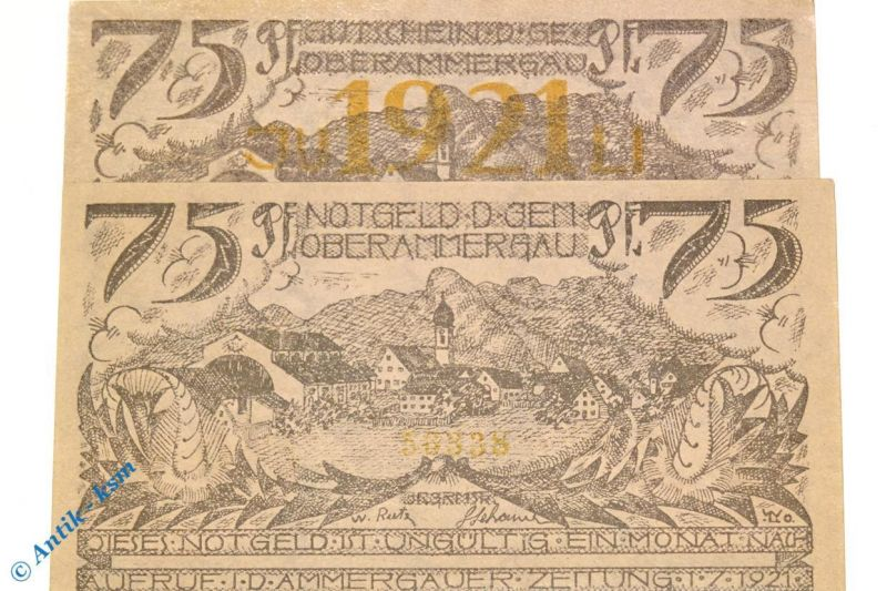 Notgeld Oberammergau , 75 Pfennig ohne Jahreszahl , M/G nicht geführt , kfr/unc