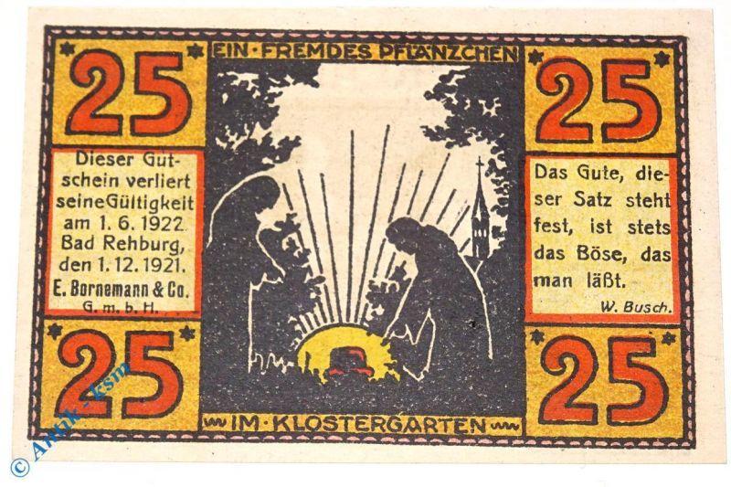 Seltener , Notgeld Rehburg , E. Bornemann , 25 Pfennig Nr 2 , M/G 1106.1 kfr/unc