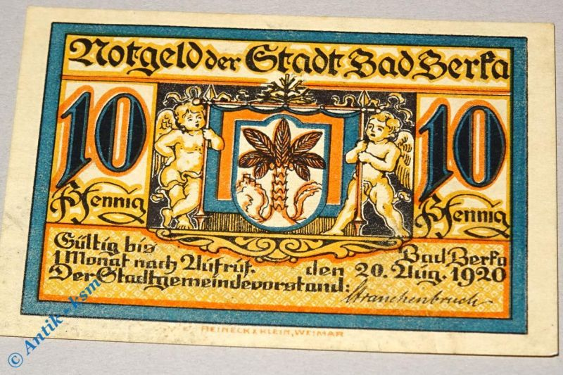 Notgeld Berka , Bad , 10 Pfennig Schein , mit A nach Kn , Mehl Grabowski 79.1 b