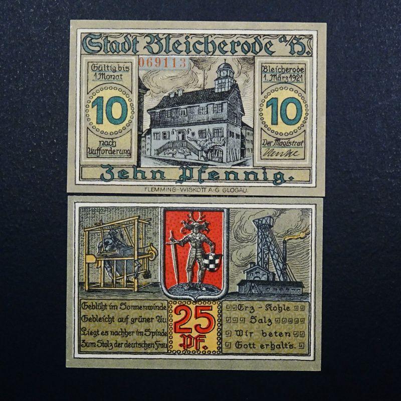 A 2 x Top Notgeld Bleicherode 10 Pf = Kn rot, 25 Pf ohne KN, emergency money unc