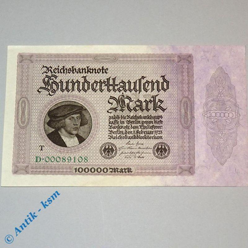 100.000 Mark , Reichsmark Schein mit - T - , Ros 82 c  , 01.02.1923 , kfr/unc 0