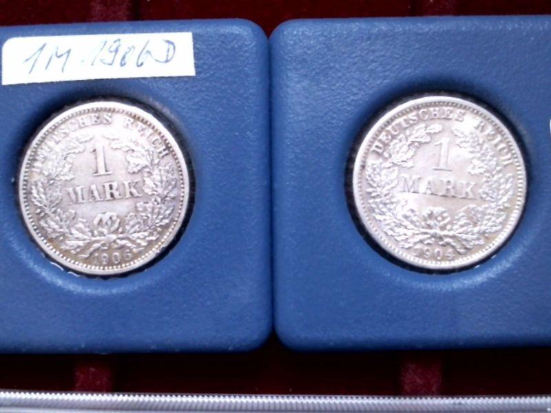 A  2 x Silber Münze Kaiserreich : 1 Mark / Reichsmark von 1904 und 1906 - D -