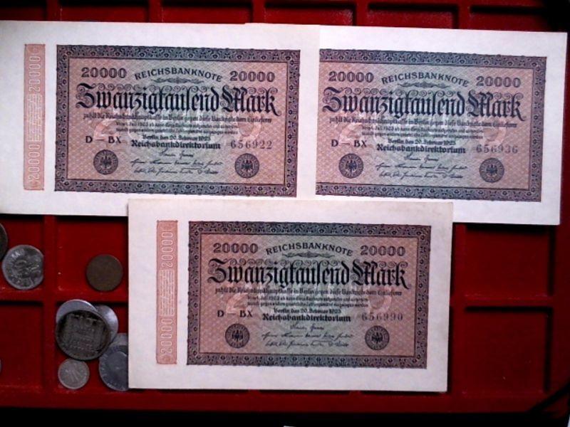 - 3 Top Banknoten Inflation : 3 x 20.000 Mark/Reichmark von 1923, kassenfrisch